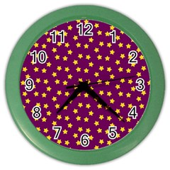 Star Christmas Red Yellow Color Wall Clocks by Nexatart