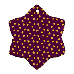 Star Christmas Red Yellow Snowflake Ornament (two Sides)