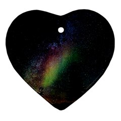 Starry Sky Galaxy Star Milky Way Heart Ornament (two Sides) by Nexatart