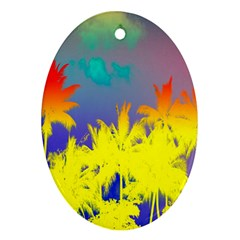 Tropical Cool Coconut Tree Ornament (oval) by Jojostore