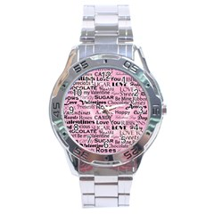 Valentine Love Heart Roses Sweet Pink Stainless Steel Analogue Watch by Jojostore