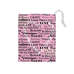 Valentine Love Heart Roses Sweet Pink Drawstring Pouches (medium)  by Jojostore