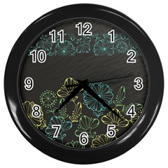 Elegant Floral Flower Rose Sunflower Wall Clocks (black)