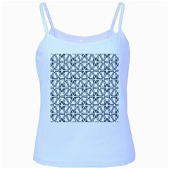 Flower Black Triangle Baby Blue Spaghetti Tank by Jojostore