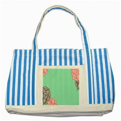 Flower Floral Green Striped Blue Tote Bag by Jojostore