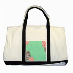 Flower Floral Green Two Tone Tote Bag by Jojostore