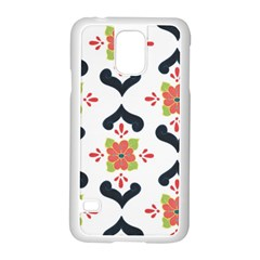 Flower Rose Floral Purple Pink Green Leaf Samsung Galaxy S5 Case (white) by Jojostore