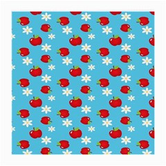 Fruit Red Apple Flower Floral Blue Medium Glasses Cloth (2 Side) by Jojostore