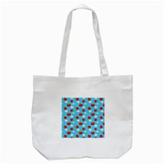 Fruit Red Apple Flower Floral Blue Tote Bag (white) by Jojostore