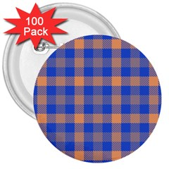 Fabric Colour Blue Orange 3  Buttons (100 Pack)  by Jojostore