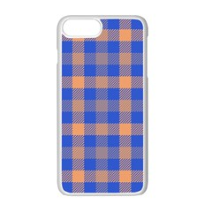 Fabric Colour Blue Orange Apple iPhone 7 Plus White Seamless Case by Jojostore