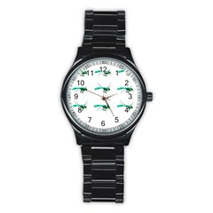Flying Dragonfly Stainless Steel Round Watch