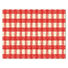Gingham Red Plaid Rectangular Jigsaw Puzzl by Jojostore