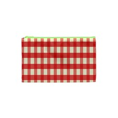 Gingham Red Plaid Cosmetic Bag (xs) by Jojostore