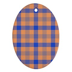Fabric Colour Orange Blue Ornament (oval) by Jojostore