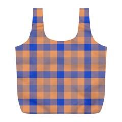 Fabric Colour Orange Blue Full Print Recycle Bags (l)  by Jojostore