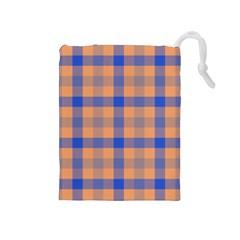 Fabric Colour Orange Blue Drawstring Pouches (medium)  by Jojostore