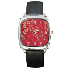 Leaf Flower Red Square Metal Watch by Jojostore