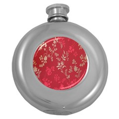 Leaf Flower Red Round Hip Flask (5 Oz) by Jojostore