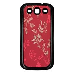 Leaf Flower Red Samsung Galaxy S3 Back Case (black) by Jojostore