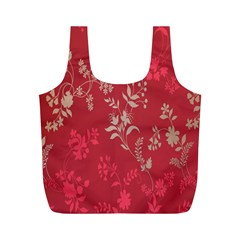 Leaf Flower Red Full Print Recycle Bags (m)  by Jojostore