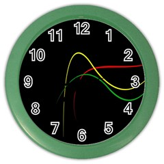 Line Red Yellow Green Color Wall Clocks by Jojostore