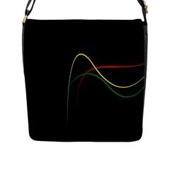 Line Red Yellow Green Flap Messenger Bag (L)