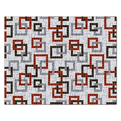 Links Rust Plaid Grey Red Rectangular Jigsaw Puzzl by Jojostore