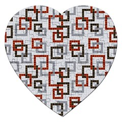 Links Rust Plaid Grey Red Jigsaw Puzzle (heart) by Jojostore