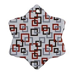Links Rust Plaid Grey Red Ornament (snowflake) by Jojostore
