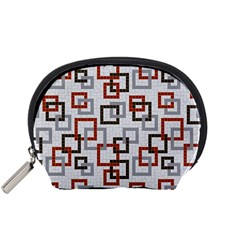 Links Rust Plaid Grey Red Accessory Pouches (small)  by Jojostore