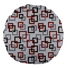 Links Rust Plaid Grey Red Large 18  Premium Flano Round Cushions by Jojostore