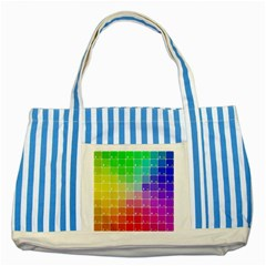 Number Alphabet Plaid Striped Blue Tote Bag by Jojostore