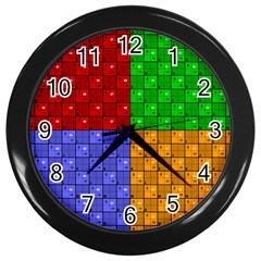 Number Plaid Colour Alphabet Red Green Purple Orange Wall Clocks (black) by Jojostore