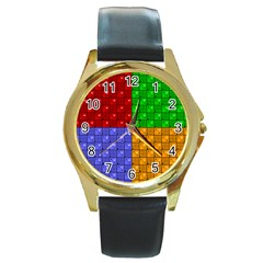 Number Plaid Colour Alphabet Red Green Purple Orange Round Gold Metal Watch by Jojostore