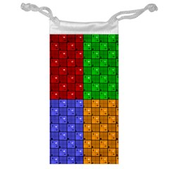 Number Plaid Colour Alphabet Red Green Purple Orange Jewelry Bag by Jojostore
