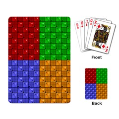 Number Plaid Colour Alphabet Red Green Purple Orange Playing Card by Jojostore