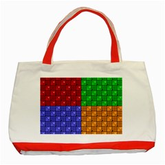 Number Plaid Colour Alphabet Red Green Purple Orange Classic Tote Bag (red) by Jojostore