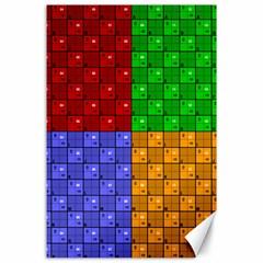 Number Plaid Colour Alphabet Red Green Purple Orange Canvas 24  X 36  by Jojostore