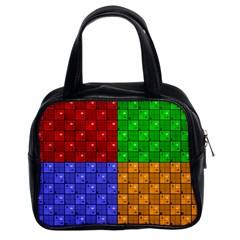 Number Plaid Colour Alphabet Red Green Purple Orange Classic Handbags (2 Sides) by Jojostore