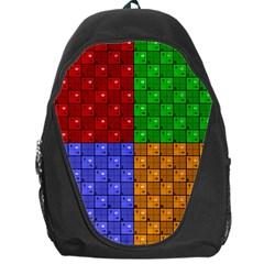 Number Plaid Colour Alphabet Red Green Purple Orange Backpack Bag by Jojostore