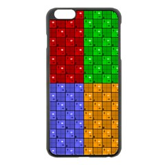 Number Plaid Colour Alphabet Red Green Purple Orange Apple Iphone 6 Plus/6s Plus Black Enamel Case by Jojostore