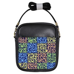 Puzzle Color Girls Sling Bags by Jojostore