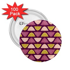 Retro Fruit Slice Lime Wave Chevron Yellow Purple 2 25  Buttons (100 Pack)  by Jojostore