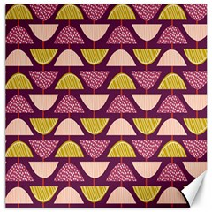 Retro Fruit Slice Lime Wave Chevron Yellow Purple Canvas 12  X 12   by Jojostore