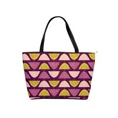 Retro Fruit Slice Lime Wave Chevron Yellow Purple Shoulder Handbags by Jojostore