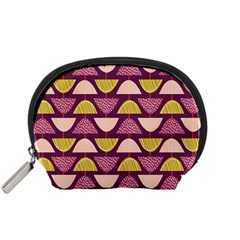 Retro Fruit Slice Lime Wave Chevron Yellow Purple Accessory Pouches (small)  by Jojostore