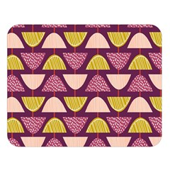 Retro Fruit Slice Lime Wave Chevron Yellow Purple Double Sided Flano Blanket (large)  by Jojostore