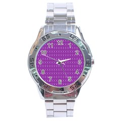 Surface Purple Patterns Lines Circle Stainless Steel Analogue Watch by Jojostore