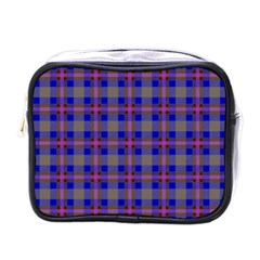 Tartan Fabric Colour Blue Mini Toiletries Bags by Jojostore